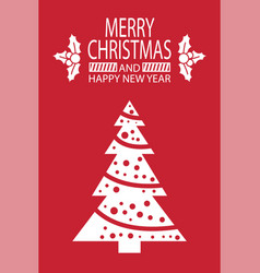 merry christmas happy new year postcard with tree vector image