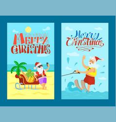 merry christmas santa claus sleigh bananas grape vector image