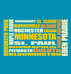 minnesota state cities list vector image