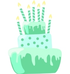 Mint color anniversary cake with candles vector