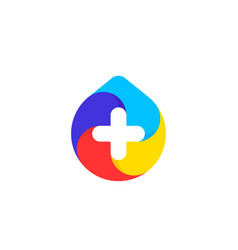 multicolored drop with white cross logo mark vector image