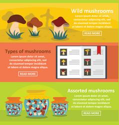 Mushroom types banner horizontal set flat style vector