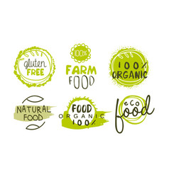 natural organic food green labels set eco bio vector image