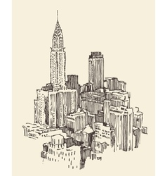 New York city architecture engraved vector image