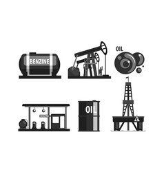 oil industry production set gasoline processing vector image