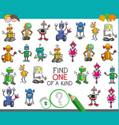 One of a kind activity with robots characters vector