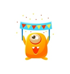 Orange Toy Monster With Party Banner vector