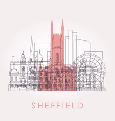 outline sheffield skyline with landmarks vector image