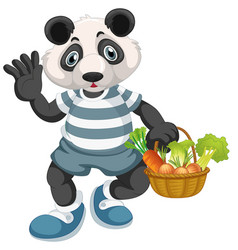 panda with vegetable basket vector image