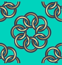 pattern gold flowers green vector image