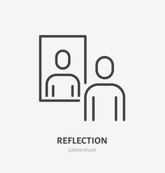 Person reflection in a mirror line icon vector
