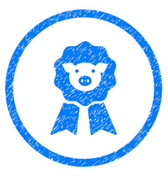 Pig award stamp rounded grainy icon vector