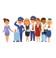 Pilots and stewardess airline vector