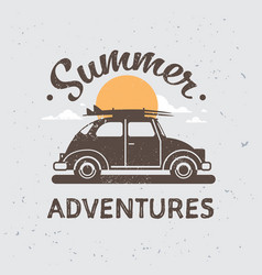 Retro car adventures with luggage on rosunset vector