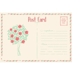 Rose bush postcard vector