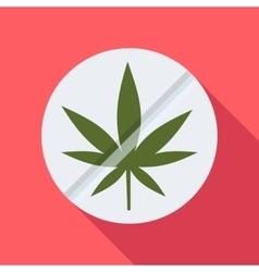Round tablet marijuana icon flat style vector