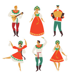 Russian folk costume flat design vector