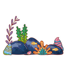 Seaweed plants with oyter style and stones vector