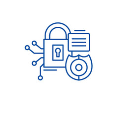 Security framework line icon concept security vector
