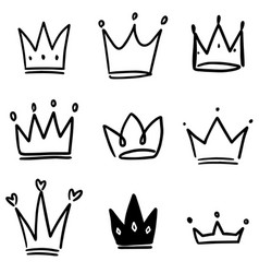 Set crown in sketching style corona symbols vector