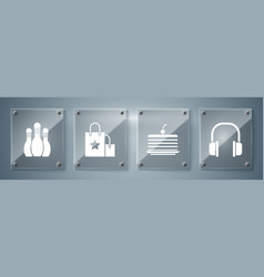 set headphones cake paper shopping bag and vector image