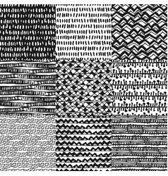 set of 9 decorative hand drawn seamless pattern vector image