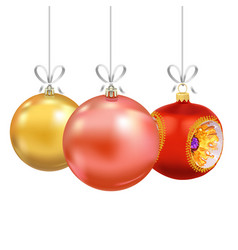 set of christmas and new year decorations vector image