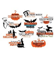 Set of Happy Halloween eerie designs vector image