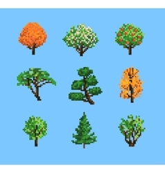 Set of Pixel Trees vector