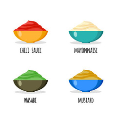 set of wasabi mayonnaise chili sauce and mustard vector image