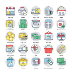Shopping and commerce circular icons set vector