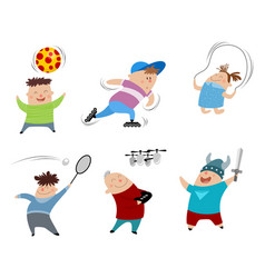 Six children set vector