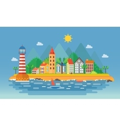 Small city urban landscape Cartoon vector image vector image