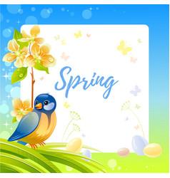 Spring frame with cherry blossom flower tit bird vector