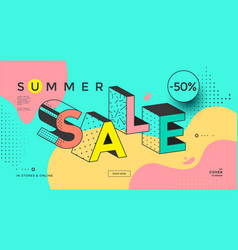 summer sale banner with memphis typography style vector image