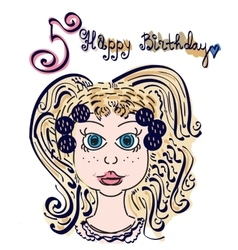 Sweet girl with birthday cake vector