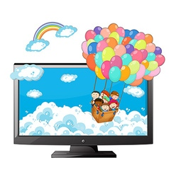 Television screen with children riding in balloon vector image