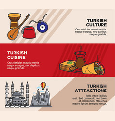 Turkey travel tourism famous attractions and vector