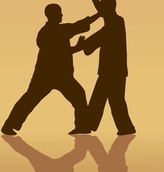 Two men are engaged in the kung fu on a yellow vector