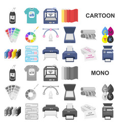 Typographical products cartoon icons in set vector