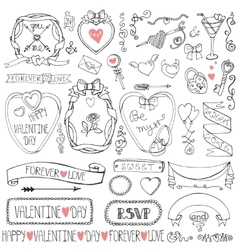 Valentines daywedding framesribbonicon decor vector image