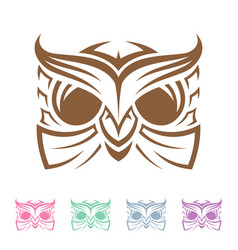 vintage head owl tribal vector image