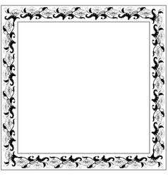 Vintage square frame with black and white tulips vector