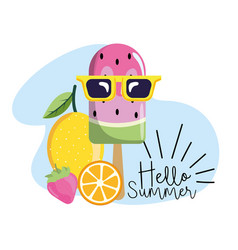 Watermelon ice lolly with lemon and strawberry vector