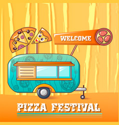 Welcome pizza festival concept background cartoon vector