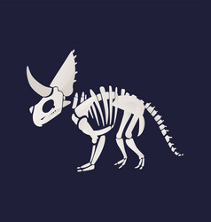 White skeleton and bones of a triceratops in flat vector