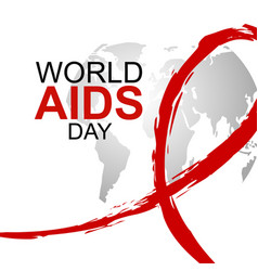 World aids day design of red ribbon and map vector