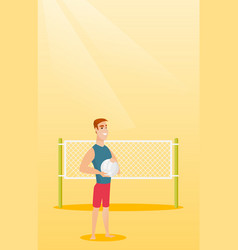 young caucasian beach volleyball player vector image