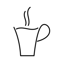 hot coffee cup outline drawing vector image vector image