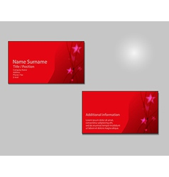 RED Business card layout with red stars on vector image vector image